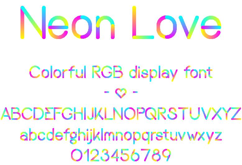 Neon love font - complete alphabet